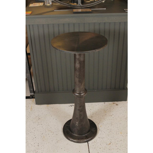 Metal Antique Steel Top Pedestal For Sale - Image 7 of 7