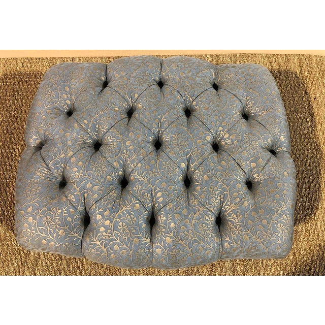 Fortuny Tufted Ottoman Custom Made by De Angelis Ltd New York in Fortuny Fabric For Sale - Image 4 of 7