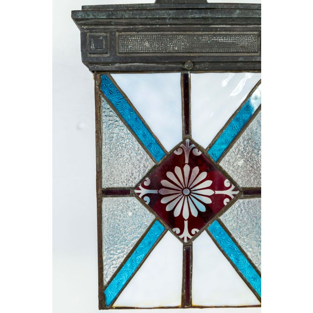 Blue, White & Deep Red Stained Glass & Bronze Lantern Sconce For Sale In San Francisco - Image 6 of 12