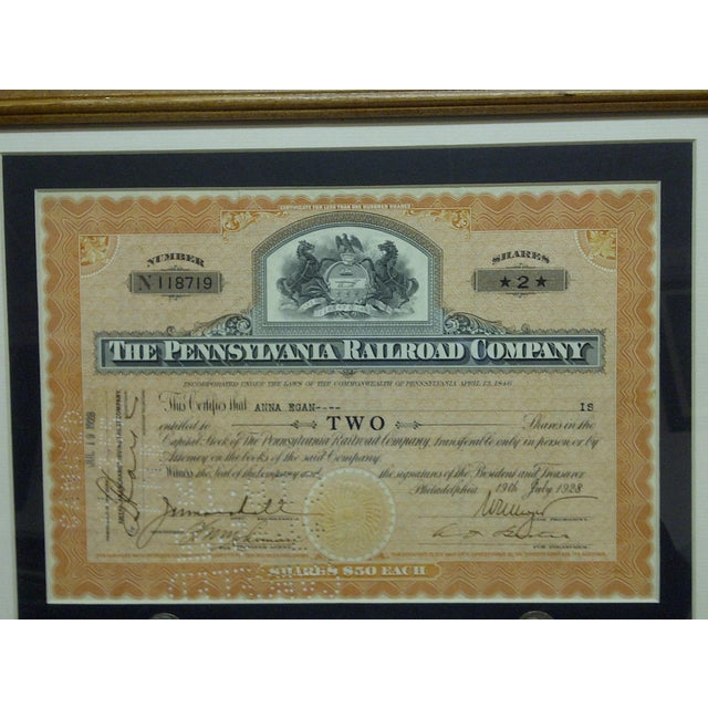 """This is a -- Framed And Matted -- Multi-Media Collage -- Titled """"1928 Pennsylvania Railroad Stock Certificate"""" -- The..."""