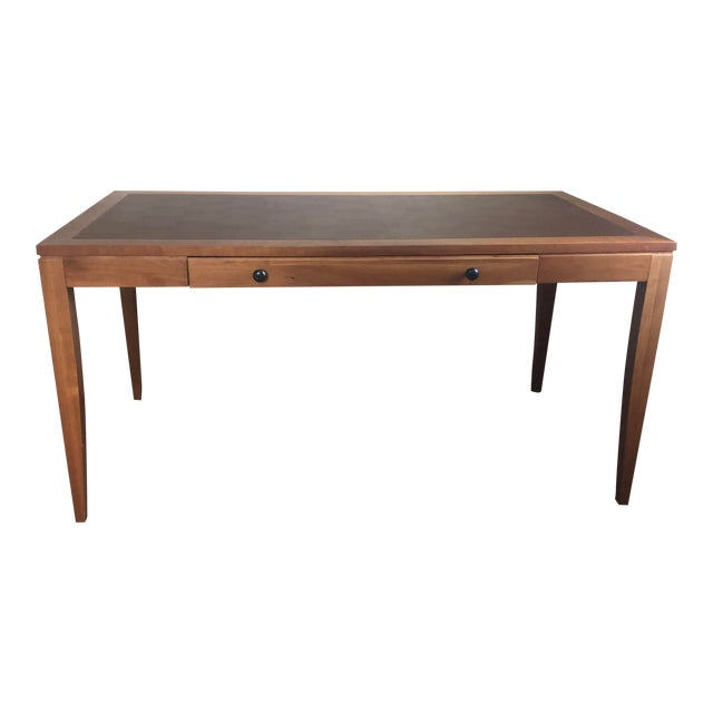 Mid Century Writing Desk With Leather Top For Sale