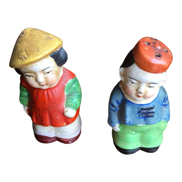 Vintage Chinese Salt & Pepper Figurines - A Pair For Sale