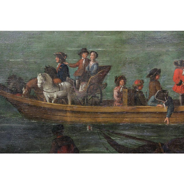 Flemish Oil on Canvas Painting of a Boat in Harbor For Sale In Boston - Image 6 of 11