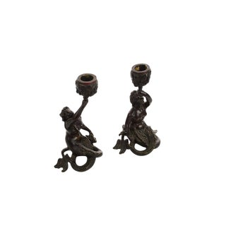 19th Century Bronze Figural Mermaid Candle Holders - A Pair