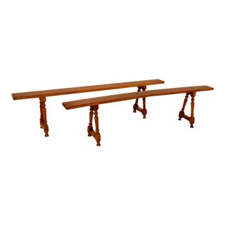 19th Century French Cherry Benches - A Pair For Sale