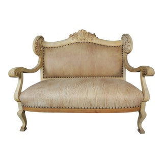 French Louis XV Style Bleached Walnut Leather Settee For Sale