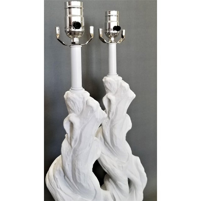 Paint Faux Bois Solid White Plaster Tree Table Lamps -A Pair - Authentic 1950s - Serge Roche Style - Palm Beach Boho Chic For Sale - Image 7 of 12