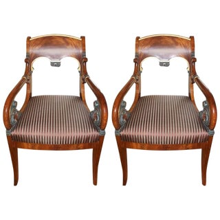 Early 19th Century Vintage Russian Neoclassic Armchairs- A Pair For Sale