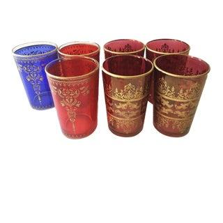 Vintage Set of 7 Moroccan Mint Tea Artisan Glasses For Sale