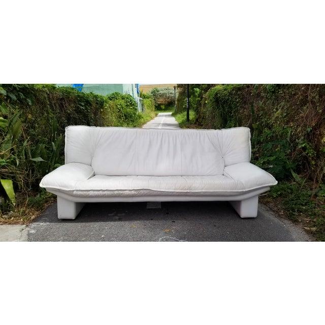 Nicoletti Salotti Postmodern Italian Leather Sofa , Circa 1980's . For Sale - Image 4 of 13
