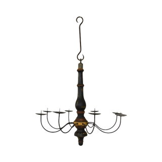 Custom Quality Folk Art 8 Light Turned Wood & Iron Chandelier For Sale