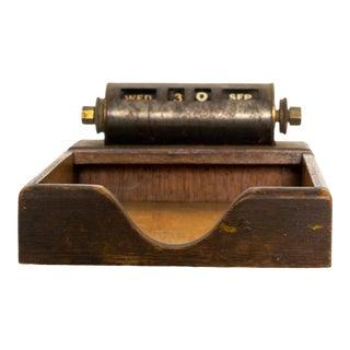 Park Sherman Perpetual Calendar Walnut & Brass Office Notepad Tray 1950s For Sale