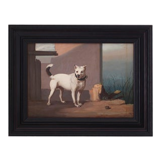 Antique Oil Painting on Board of a Dog For Sale