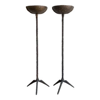 Pair of Brutalist Solid Bronze Torchiere Floor Lamp For Sale