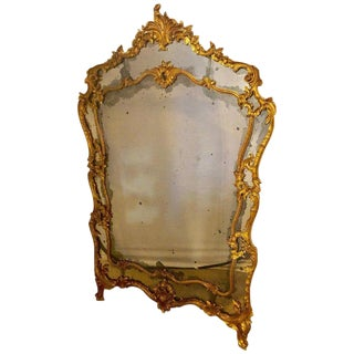 Large Italian Louis XV Style Giltwood Wall Console or Floor Mirror For Sale