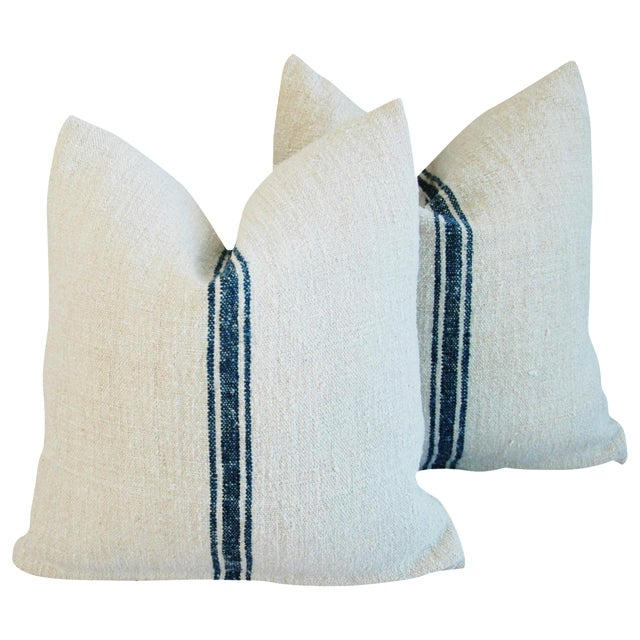 French Grain Sack Pillows - A Pair - Image 1 of 10