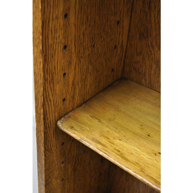 Brown Mid Century Mission/Arts and Crafts Style Oak Two-Shelf Bookcase For Sale - Image 8 of 13