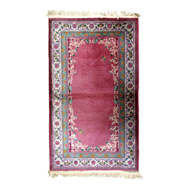 1930s Handmade Antique Art Deco Chinese Rug 2.10' X 5.10' For Sale