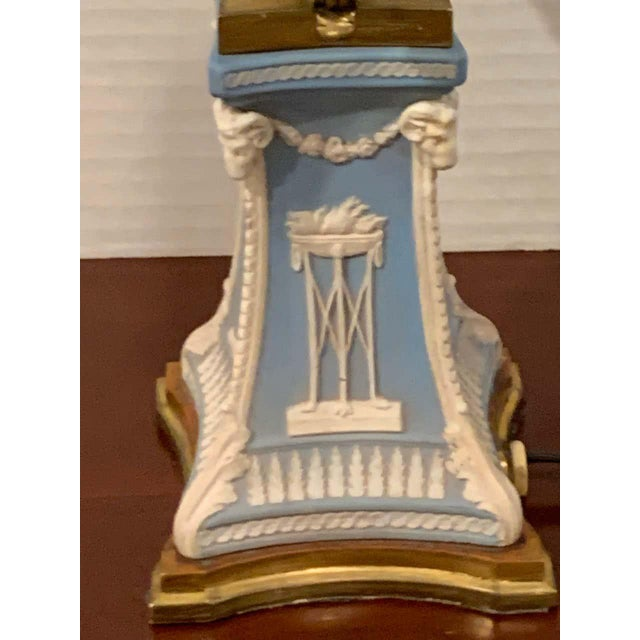 Neoclassical Wedgwood Adam Style Ormolu Mounted Lamp For Sale - Image 3 of 11