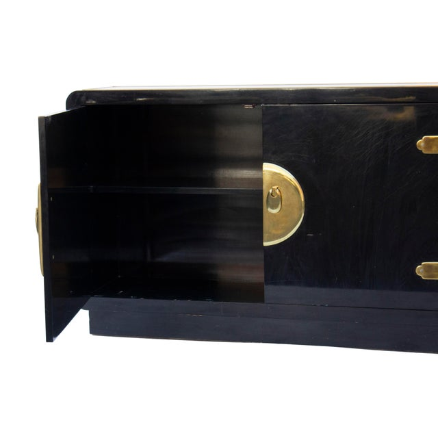 Mastercraft Console Cabinet in Black Lacquer and Brass For Sale - Image 9 of 13