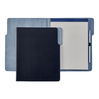 Hugo Folder, Bonded Leather in Navy Blue For Sale