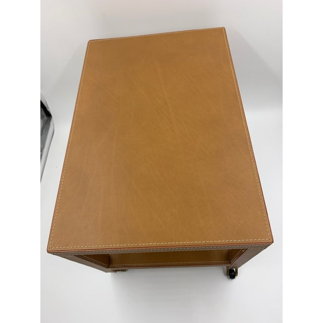 Camel Two Tier Dimuntive Leather Trolley on Casters For Sale - Image 8 of 10