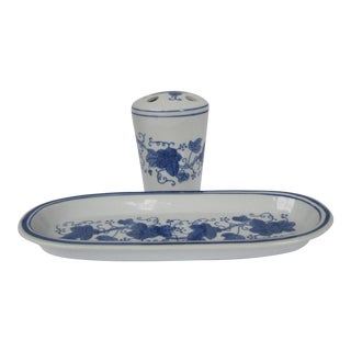 Blue & White Vanity Tray and Toothbrush Cup- 2 Pieces