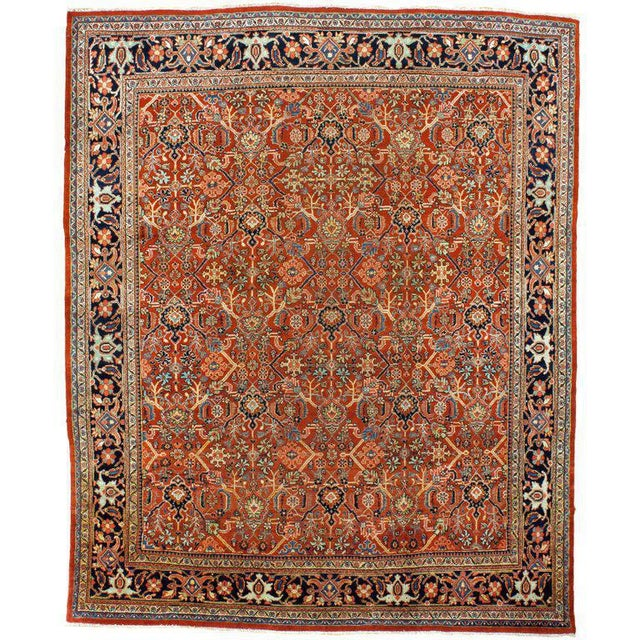 """Antique Mahal rug in a traditional style. The beautiful red and brown hues will add to any room!Measurement: 11'5"""" x 13'5"""""""
