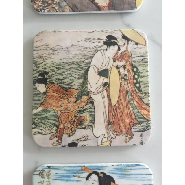 Japanese Geisha Women Coasters - Set of 6 For Sale In New York - Image 6 of 10