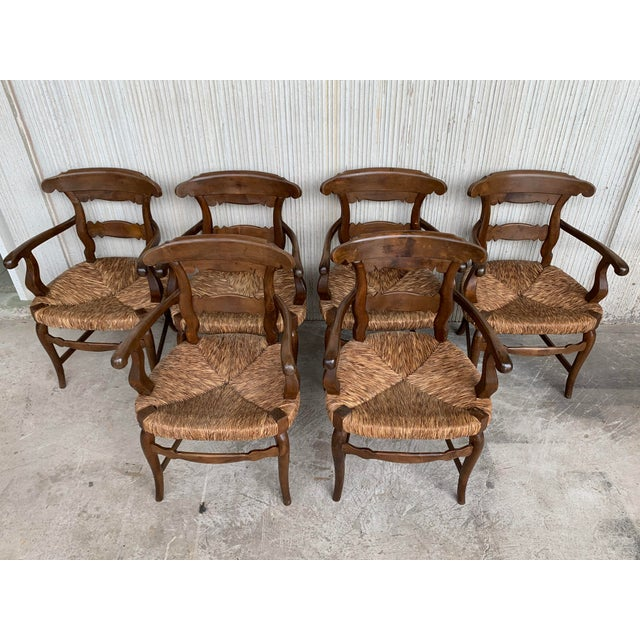 19th Century Set of Six Armchairs With Straw Seat. Dining Room Chairs For Sale - Image 4 of 13