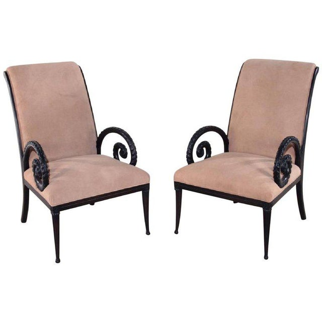 1940s Regency Grosfeld House Ebonized Scrolled Armchairs - a Pair For Sale In Houston - Image 6 of 6