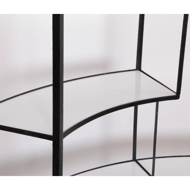 1950s Black and White Vitrolite Glass Wrought Iron Shelf by Frederick Weinberg For Sale - Image 5 of 6