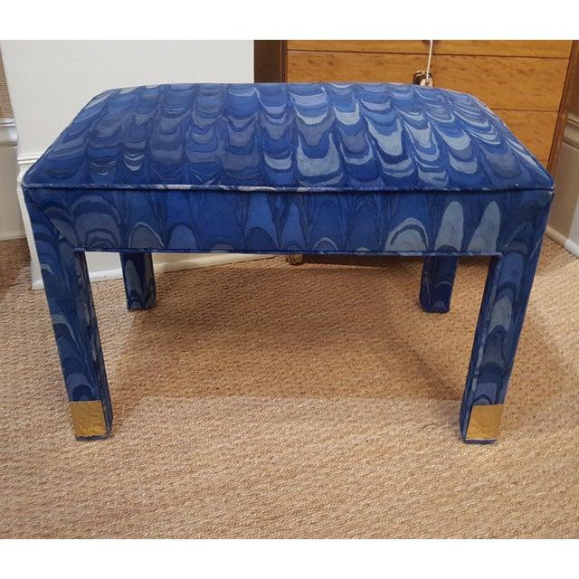 Vintage vanity stool, bench or ottoman in gorgeous original marbled blue velvet by Jack Lenor Larsen. This piece has brass...