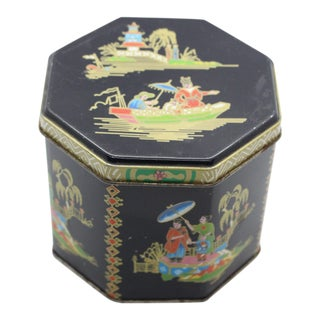 1990s Tin Box Company Chinoiserie Pictorial Box For Sale