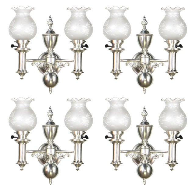 Set of 4 Silver Argand Sconces For Sale - Image 10 of 10