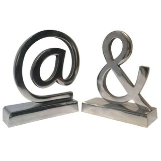 Aluminum Silver Bookends - A Pair