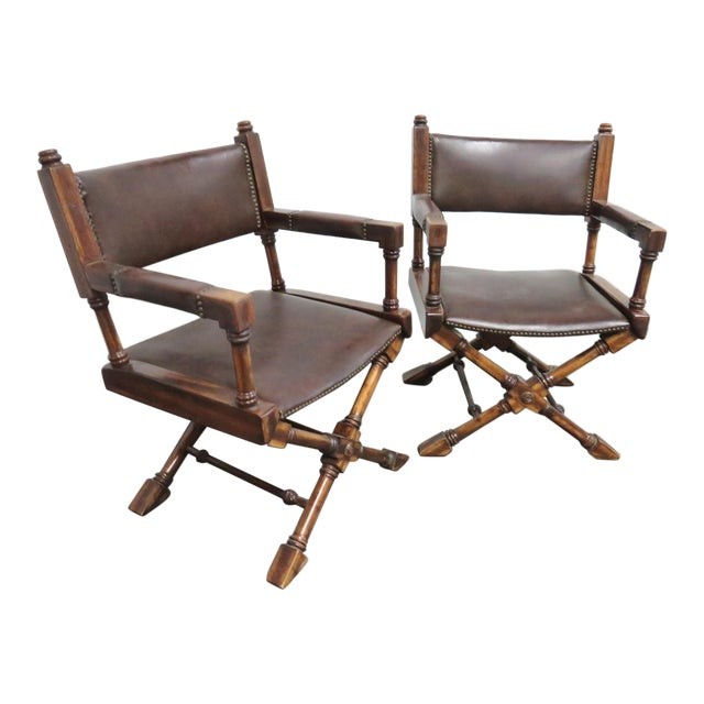 Mid Century Regency Directors Style Chairs- a Pair For Sale