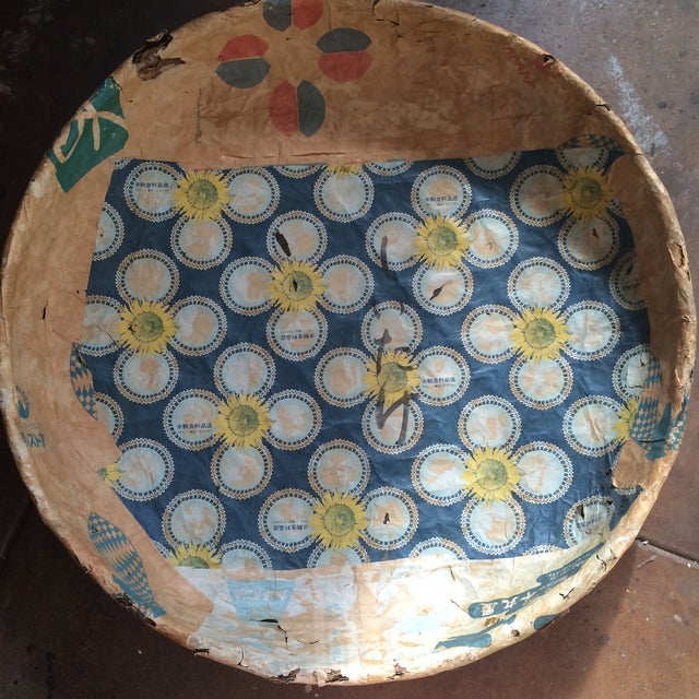 This Japanese basket was used to collect mushrooms. Two sided paper mâché with lovely graphics. Could easily hang on wall...