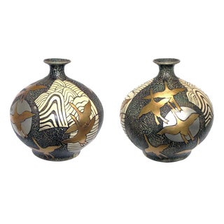 1960's Asian-Inspired Ceramic Vases-a Pair For Sale