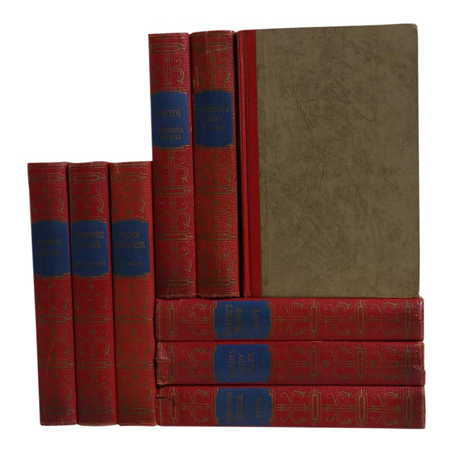 Vintage Children's Books in Red & Blue - Set of 9 For Sale