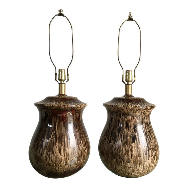 Vintage Mid-Century Ceramic Table Lamps - A Pair For Sale