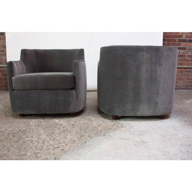 Mid-Century American Modern Tub Chairs in Mohair and Velvet For Sale In New York - Image 6 of 13