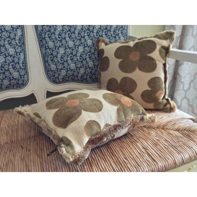 1980s Vintage Borgata Crazy Flower Pillows - a Pair For Sale - Image 4 of 11