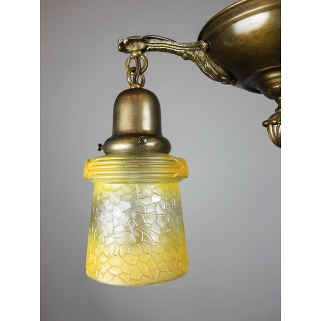 Antique Pan Fixture with Original Shades (2-Light) - Image 3 of 9