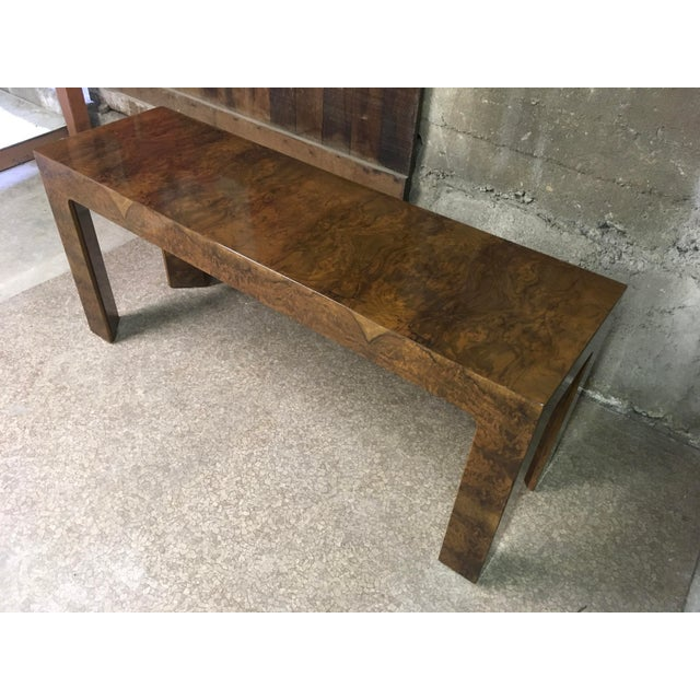 Mid-Century Modern 1970s Burlwood Console Table For Sale - Image 3 of 11