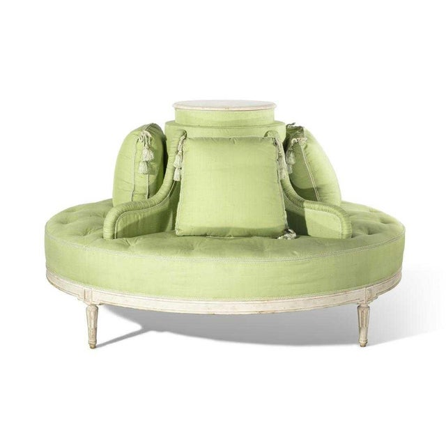 Green Louis XVI Style Fabulous Painted & Upholstered Round Settee For Sale - Image 8 of 8