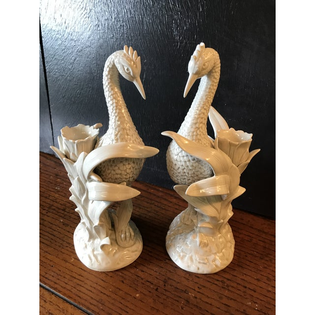 Hollywood Regency Vintage Fitz and Floyd Ceramic Heron and Palm Leaf Candle Holder-Pair For Sale - Image 3 of 11