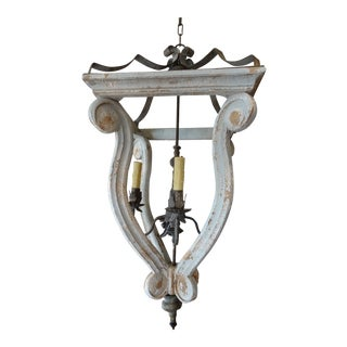 Contemporary French Wood and Iron Lantern For Sale