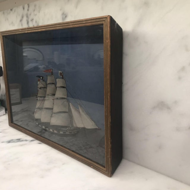 Folk Art Shadowbox Ship Diorama of a Three Masted Schooner For Sale In Portland, ME - Image 6 of 10