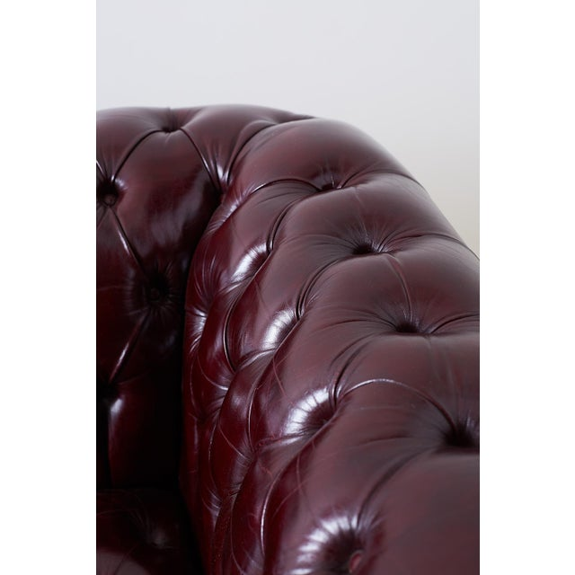 English Cordovan Tufted Leather Chesterfield Sofa For Sale - Image 9 of 13